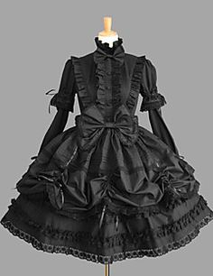 Long Sleeve Knee-length Black Cotton Gothic Lolita Dress wit... – USD $ 49.99