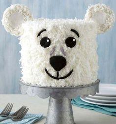 Birthday polar bear cake with coconut flakes // Szülinapi jegesmedve torta kókusz reszelékkel // Mindy - craft tutorial collection // #crafts #DIY #craftTutorial #tutorial #PartiesForKIds #DIYPartyFavorsForKIds #DIYPartyDecorsForKIds