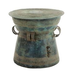 Side Table Drum Thai -Antique green finish Dimensions:	ø 59 x H. 52 cm - EH