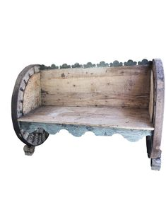 Antique Indian Oxcart Wheel Hand Carved Solid Natural Sunbleached Wood Bench Garden Sofa Unique Design Eclectic Cottage Rustic - pinupi love to share Art Deco Furniture, Vintage Furniture, Furniture Sets, Wagon Wheel Bench, Wagon Wheels, Pallet Furniture Cushions, Shabby Chic Nightstand, Antique Bench, Indian Doors