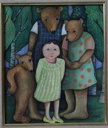 Gallery 1 - Sonja Lehto, naivistisia maalauksia,kultakutri ja kolme karhua