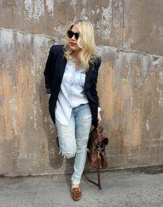H Denim Shirt, Vintage  Blazer, Diy  Jeans, Lindex Leoslippers, Mulberry Alexa