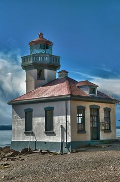 Lime Kiln lighthouse on San Juan island in Washington state. It is used today as a whale research station!