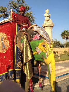 The beauty of an Indian painted elephant in Jaipur