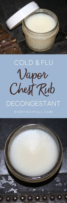 DIY VAPOR CHEST RUB - When youre hit with congestion from the cold flu, this chest rub with essential oils is sure to soothe and alleviate those stuffy sniffles.