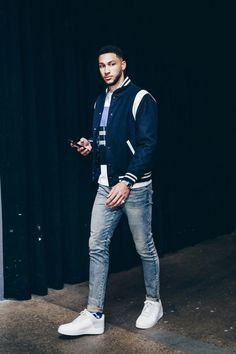 Wearing Golden Bear Jacket, A-Cold-Wall x Nike Sneakers, Off-White Socks ______________________________________________ Ben Simmons, Nba Fashion, Fashion Outfits, Mens Fashion, Bomber Jacket Outfit, Bear Jacket, Estilo Street, Mens Clothing Styles, Basketball