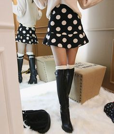 [DABAGIRL] FLARED HEM POLKA DOT MINI SKIRT