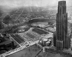 """An incredible photo of the Cathedral of Learning looming over Forbes Field in Oakland was taken on April 1949 from the Pittsburgh Post-Gazette helicopter. University Of Pittsburgh, Pittsburgh Sports, Pittsburgh Pirates, Pittsburgh City, Kansas City, Baseball Park, Baseball Photos, Old Postcards, Airplane View"