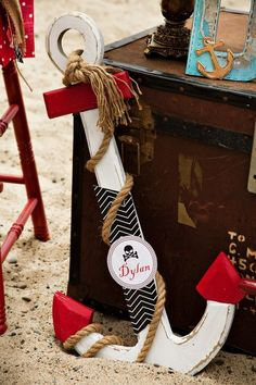 Spectacular Pirate Party on the Beach. Cute personalized anchor decoration