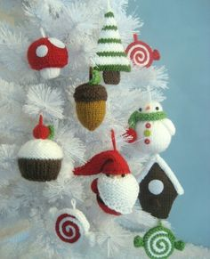 Knitting Patterns Christmas Knitting Patterns for Amigurumi Christmas Tree Ornaments - Pattern includes instructions for the fol. Knitted Christmas Decorations, Knit Christmas Ornaments, Noel Christmas, Homemade Christmas, Crochet Ornaments, Simple Christmas, Xmas Baubles, Handmade Ornaments, Christmas Balls