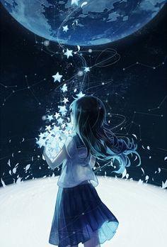 Imagen de anime, anime girl, and stars