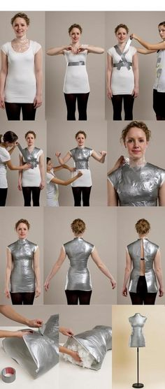 You will love this Duct Tape Mannequin Tutorial that shows you how to make the perfect custom shape for your size. This is perfect for creating patterns. brilliant, finally a chance to make use of all that tyedye duck tape diy dress body form Duct Tape Ma Sewing Hacks, Sewing Tutorials, Sewing Crafts, Sewing Projects, Sewing Patterns, Sewing Tips, Diy Crafts, Diy Clothes Patterns, Diy Projects