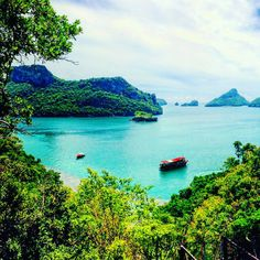 """The incredible vistas of Thailand's Ang Thong National Marine Park from the cliff peak on Mae Koh Island made the climb worth every bead of perspiration!  This archipelago of over 40 islands was also the inspiration for the pristine paradise in Alex Garland's novel """"The Beach"""" (later adapted into a film of the same name, starring Leonardo DiCaprio). #KeepCalmAndJasTravel Emerald Lake (Talay Nai), Mae Koh Island, Thailand"""