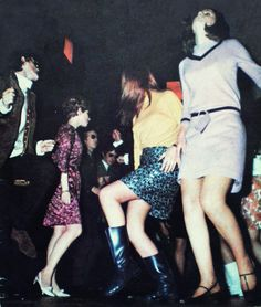 Dancing 60s mods go go boots gogo mini skirt dress dance club nightclub pink yellow black tan low heeled shoes hairstyle found photo snapshot