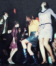 Dancing 60s mods go go boots gogo mini skirt dress dance club nightclub pink yellow black tan low heeled shoes hairstyle found photo snapshot