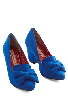 Peppy Planner Heel in Blue. With the help of spreadsheets, lists, and seating charts precision is your name, and these bow-accented cobalt heels by Bait Footwear accompany you to all the events you've organized! #blue #modcloth