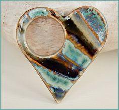 "Stoneware Pendant "" Heart"" https://www.facebook.com/groups/CeramicArtBeadMarket"