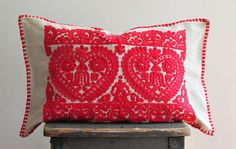 vintage Transylvanian pillow red embroidered pillow ethnic