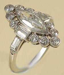 Platinum set Marquese shaped marquese diamond, baguettes and round diamonds 1940c