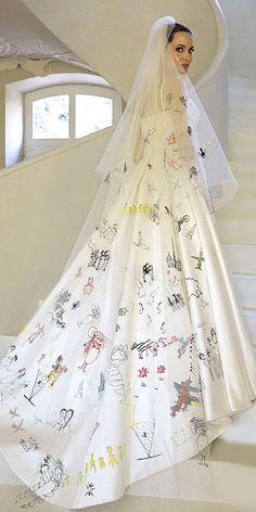 Angelina Jolie Wedding Dress And It's Twins ❤ See more: http://www.weddingforward.com/angelina-jolie-wedding-dress/ #wedding #dresses