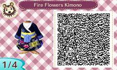 Fire Flowers Kimono | QR Code #ACNL