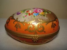 FRENCH LE TALLEC PARIS LIMOGES PORCELAIN EGG TRINKET BOX
