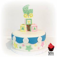 Baby Blocks (front) #baby #cake #shower #blocks #carriage