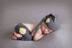 Newborn Photography Prop  Newborn Stocking Hat Grey and Yellow Prop Outfit