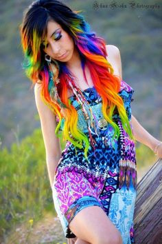 Rainbow hair, WOW I would absolutely love to have my hair like this!!!