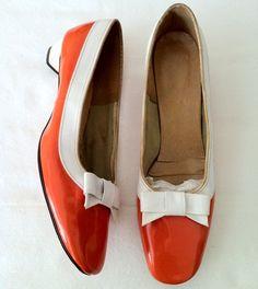 Vintage 1960's COLOR BLOCK vinyl patent MOD Go Go Space Age Stewardess Low Heels Shoes 8 1/2 9 on Etsy, Sold