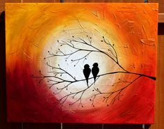 "Love Birds on a Tree Limb in the Sunrise/Sunset: Acrylic Abstract Painting, Red, Yellow, Purple, Orange, Gold 18"" by 24"""