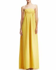 Strapless Silk Gown, Yellow by Derek Lam