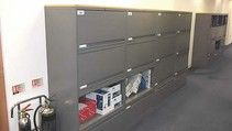 KI 700 Series storage cabinets. Each cabinet has 3 x storage sections with lift-up doors and 1 x pull-out filing drawer