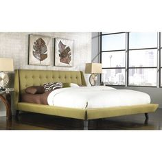 Fashion Mid-century Style Bed Group B7165 Prelude Complete Platform... ($1,084) ❤ liked on Polyvore featuring home, furniture, beds, green, california king bedroom sets, queen platform bed, king bed platform, queen bed and king size bed platform #platformbed