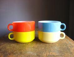 Vintage Glasbake Soup Mugs