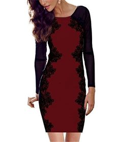 85fc11e3f775 CHFF888 DS03 Ladies Long Sleeve Sexy Lace Bodycon Evening Party Cocktail  Dress: Amazon.co.uk: Clothing
