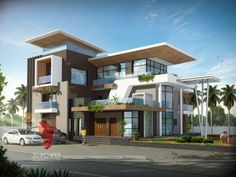 A great ultra modern bungalow design gives a complete new style statement to your dream project. Bungalow style means different things to different people and is therefore not a particularly pre… Modern Bungalow Exterior, Modern House Facades, Modern Bungalow House, Modern Houses, Luxury Houses, Dream Houses, 3 Storey House Design, House Front Design, Modern House Design