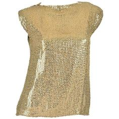 Preowned 1970's Pierre Balmain Gold Sequined Blouse ($300) ❤ liked on Polyvore featuring tops, blouses, multiple, checkered blouse, vintage blouses, gold blouse, evening blouses and gold top