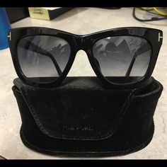 """Tom Ford Celina Sunglasses Tom Ford Celina 361-F. Color 01A, (black with iridescent temples) 55/16/145. """"Asian fit"""" bridge. Like new! Case and cleaning cloth included. Tom Ford Accessories Sunglasses"""