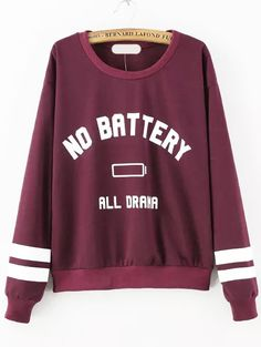Burgundy Round Neck NO BATTERY Print Sweatshirt -SheIn(abaday)
