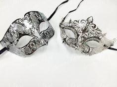 New Bestselling Silver Swan Masquerade Mask Set - Couples Collection Pricing is for both phantom (male) and laser cut (female) masks! Sweet deal