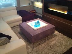 Purple concrete coffee table with LED lighting