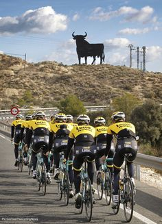 Where else could it be but the Costa Blanca, Spain - were all the teams go. LottoNL-Jumbo getting the training done in the sun. Premier Cycling Holidays, www.premiersportsholidays.com