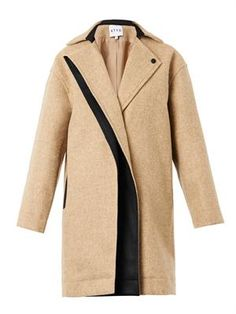 Single-breasted textured-wool coat