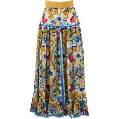 Dolce & Gabbana  Maiolica Print Skirt ($1,545) ❤ liked on Polyvore featuring skirts, cotton maxi skirt, a line maxi skirt, ruched maxi skirt, floor length maxi skirt and patterned maxi skirt