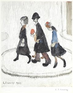 Laurence Stephen Lowry - The Family, Offset. English Artists, Art Courses, Traditional Paintings, Naive Art, Art For Art Sake, Art And Illustration, Fine Art Gallery, Art Sketchbook, Art Boards