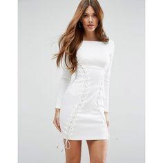 ASOS Premium Corset Lace Up Scuba Mini Dress (305 BRL) ❤ liked on Polyvore featuring dresses, white, white lace up dress, mini dress, short bodycon dresses, white body con dress and lace up corset