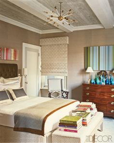 Philip Gorrivan tips paint low ceiling high gloss for lift, use wallpaper on ceiling (faux bois here) grass cloth for quieter better sound in room