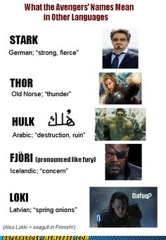 What the Avengers' names mean in other languages. Loki will make you cry, just like onions.