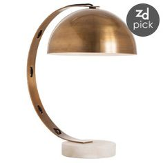 Arteriors Bond Vintage Brass/Snow Marble Desk Lamp AR42326
